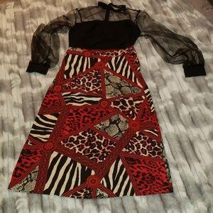 Mixed animal print skirt